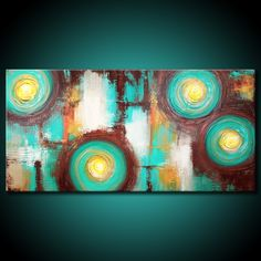 Abstract Painting MADE TO ORDER Original Modern Textured 48x24 Canvas Acrylic Teal Brown Fine Art by Maria Farias. $311.00, via Etsy.