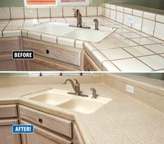 Is your kitchen beginning to look outdated, worn or discolored? If you're looking to bring life back to your kitchen, consider countertop refinishing. Painting Tile Countertops, Painting Kitchen Tiles, Refinish Countertops, Kitchen Countertops, Small Open Kitchens, Kitchen Models, Aesthetic Design, Inspired Homes, Decorating Tips
