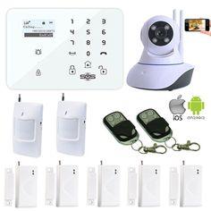 Home Security Camera System Wireless WIFI IP Camera GSM Smart Alarm Android APP Control PIR Motion Detector Window Sensor W11K