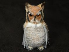 OOAK (One Of A Kind) Minatures & Dolls House Creations TreasuredByU Clay Feathered Sculpt Great Horned Owl