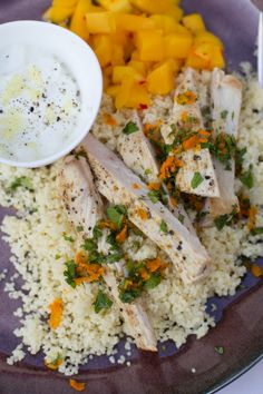 Recipe for Weight Watchers Easy Start Program Couscous chicken salad with mango salsa and yoghurt ginger dressing