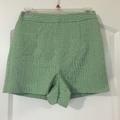 Beautiful Design Mint Green High Waisted Shorts Worn once. Great condition. Size is XSmall but it's a little big so it should fit perfectly for someone who generally wears a size Small! The brand is Forever 21's Exclusive collection Forever 21 Shorts