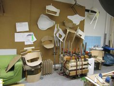 GAP CHAIR / chairs development area mockups, wooden shells, selfmade pressing form pressing the seating shell