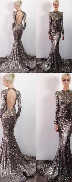 Long Sleeve Sequin Open Back Mermaid Shinny High Neck Floor-Length Prom Dresses, This dress could be custom made, there are no extra cost to do custom size and color