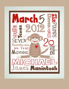 SOCK MONKEY Personalized Baby Stats Announcement  Printable  Gift. $8.00, via Etsy.
