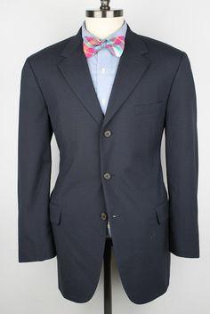 WOW Brooks Brothers Brooksaire Navy Worsted Wool 42 R mens Sport Coat Blazer #BrooksBrothers #ThreeButton