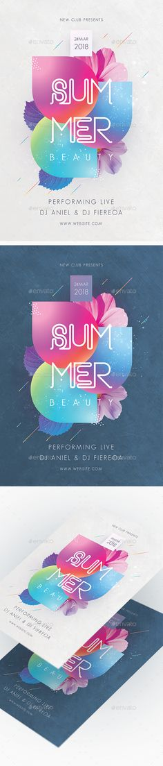 Summer Beauty Party Flyer Template PSD