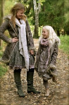 winter scarf boots and frills - Mummy and daughter fashion
