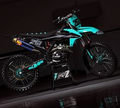 KTM 'Industry Teal' Graphics kit now available online! Kawasaki Dirt Bikes, Ktm Dirt Bikes, Cool Dirt Bikes, Mx Bikes, Motocross Ktm, Motorcycle Dirt Bike, Pit Bike, Motorcycle Quotes, Dirt Scooter
