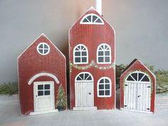Bildergalerie Scrap Wood Crafts, Wood Block Crafts, Wood Blocks, Christmas Wood Crafts, Christmas Crafts, Christmas Decorations, Fabric Houses, Paper Houses, Wood Houses