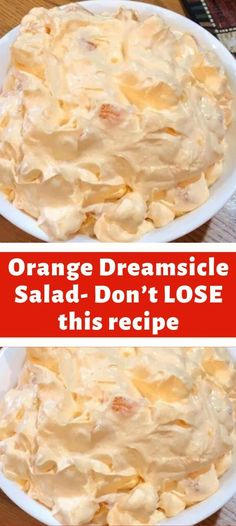Ingredients: 1 box orange Jell-O 1 box instant vanilla pudding 1 cup boiling water cup cold water 1 Cool Whip 8 oz. # Food and Drink salad Orange Dreamsicle Salad- Don't LOSE this recipe Fluff Desserts, Dessert Salads, Jello Recipes, Fruit Salad Recipes, Köstliche Desserts, Delicious Desserts, Yummy Food, Tasty, Fruit Salads