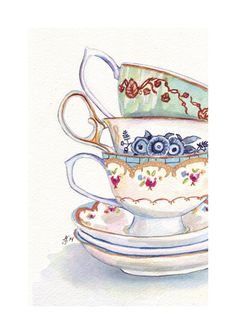 Teacups Still Life Watercolor Painting - Stack of Tea Cups Watercolor Art Print, 5x7 Print    This is a print of my original watercolor painting