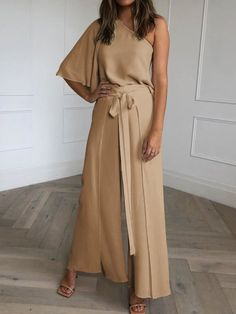 Fashion Casual Solid Color One-shoulder Jumpsuit,Latest Products Jumpsuits For Women Classy, One Shoulder Jumpsuit, Jumpsuit Outfit, Woman Beach, Casual Outfits, Female, Elegant, Lady, Fashion Trends