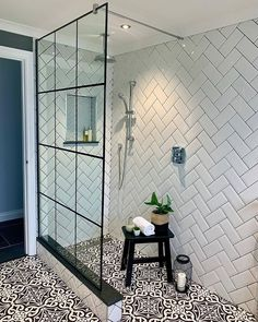 Metro Tiles Bathroom, Loft Bathroom, Bathroom Floor Tiles, Bathroom Windows, Shower Floor, Bathroom Design Luxury, Bathroom Design Small, Bathroom Tile Designs, Bathroom Ideas