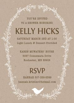 These are simple and cute!   Woodland Baby Shower Invitations