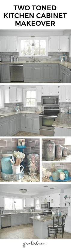 Kitchen cabinet makeover. Oak cabinets to two toned gray and white cabinets (Chelsea Gray and Dove White - Benjamin Moore) Fixer upper inspired design space with subway tile backsplash. Welcome home! ;) by Peggie Russo-Millard