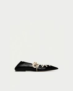 Image 2 of LEATHER MULE BALLERINAS WITH LACES from Zara