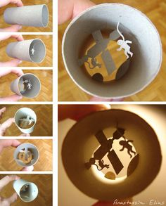 Paper cut collages inside of toilet paper rolls