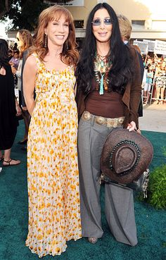 "Kathy Griffin and Cher The comedienne and music legend have become such besties that they often have slumber parties at Cher's opulent California mansion. ""Typically Cher demands a no makeup, sweatpants kind of situation for our nights in but on a recent visit, just to annoy her, I said, 'Will you do my makeup for me? Oh and make it sparkly,'"" Griffin recalled in 2012. ""After a quick argument she said, with no irony, 'Well we'll have to start in my sparkle drawer,' I immediately ran into her…"
