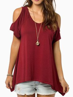Summer Style Women Casual Loose Tops Off Shoulder Shirts Off Shoulder Round Neck Short Sleeve Blouses Plus Size - WineRed, XL Just look, that`s outstanding! Off Shoulder Shirt, Cold Shoulder, Shoulder Tops, Shoulder Cut, Looks Style, My Style, Fashion Pattern, Mode Online Shop, Womens Fashion Casual Summer