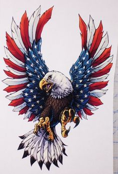american flag art Front facing American Flag Eagle Full color Graphic Window Decal Sticker Available in 4 Size's Printed full color what you see is what they look like. Eagle Tattoos, Eagle Back Tattoo, Wing Tattoos, Celtic Tattoos, Sleeve Tattoos, Temporary Tattoos, Patriotic Pictures, Eagle Pictures, American Flag