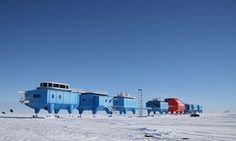 """""""The Halley Research Station in Antarctica is run by the British Antarctic Survey. The station is used to conduct research into meteorology, glaciology, seismology, radio astronomy, and geospace science. Antarctic Ice Shelf, Coldest Place On Earth, Science Stations, Polar Night, Walking City, Solar Activity, Ice Sheet, Picture Blog, Research"""