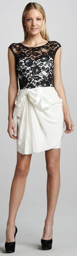 Notte by Marchessa Draped Lace Top Cocktail Dress