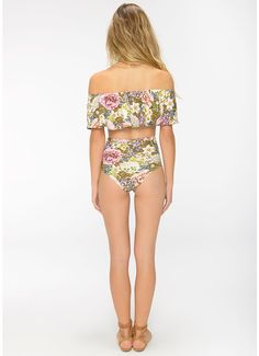 Biquíni Top Stela Calcinha Hot Pant Dupla Floral Summer Camelo - Triya