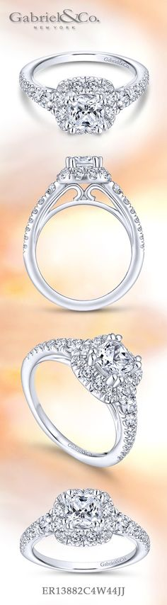 Gabriel NY - Voted #1 Most Preferred Fine Jewelry and Bridal Brand. 14k White Gold Cushion Cut Halo  Engagement Ring
