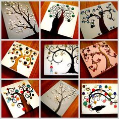 Button trees...Love This might make a good art project for Mother's Day? Or seasonal changes - 4 small squares where the kids paint trees & use different colored buttons to represent each season then put all quarters on a larger sheet together????