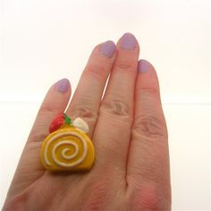 Yellow Cake Slice Ring Kawaii Kitsch Fairy Kei by millypopsuk, $6.50