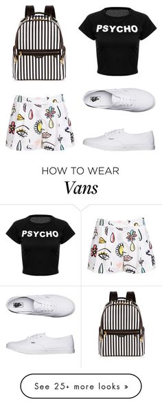 """Untitled #449"" by fifteen-seconds-of-lame on Polyvore featuring Moschino, Henri Bendel and Vans"