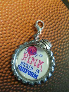 Pretty In Pink Wicked In Uniform Basketball Bottle Cap Keychain or Zipperpull.   by tracikennedy, $6.00