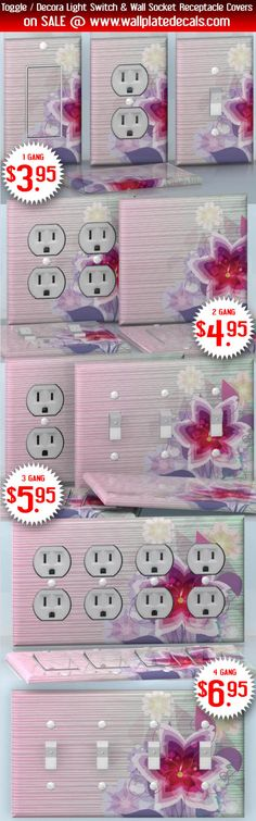 DIY Do It Yourself Home Decor - Easy to apply wall plate wraps | Diamond Lilly  Beautiful pink bright flower  wallplate skin stickers for single, double, triple and quadruple Toggle and Decora Light Switches, Wall Socket Duplex Receptacles, and blank decals without inside cuts for special outlets | On SALE now only $3.95 - $6.95