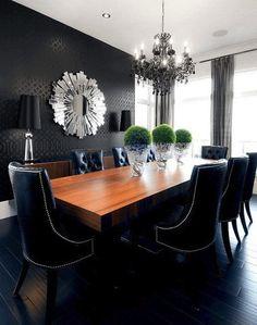 Art deco interior - black hardwood flooring in dining room. Gorgeous. This is amazing!