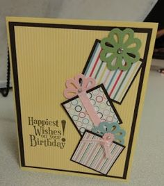 Happy Birthday, Card, Gifts cute idea for the bows on the packages -never thought of using flowers
