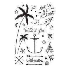 Wild & Free - Summer 2017 -La planche de tatouages éphémères des aventurières - Justine Ducros x Les Pauline