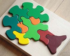 Items similar to Wooden Puzzle Birds in a Tree. Wooden Puzzle on Etsy Wooden Puzzles, Wooden Blocks, Wooden Cart, Animal Puzzle, Pull Toy, Wooden Animals, Wood Dust, Toy Craft, Wood Toys