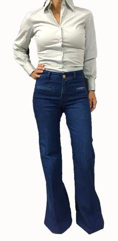 DON'T CRY jeans donna zampa cm 36 mod 1125 BELL BOTTOM vita alta 98% cotone 2%…