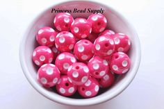 20mm Hot Pink Polka-Dot Chunky Beads Set of by PrincessBeadSupply