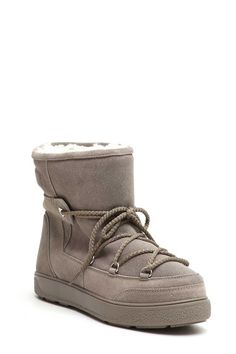 MONCLER 'NEW FANNY' MOON BOOT IN SAFFIANO E NYLON
