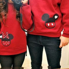 Mickey and Minnie Mouse Couple Sweatshirts