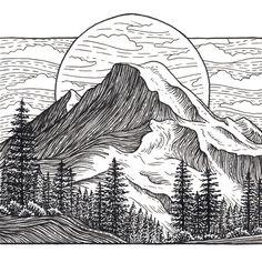 Mountain Art Giclee Print - Mount Baker, Washington, Pacific Northwest - Black…