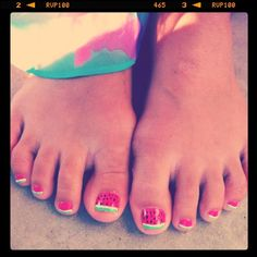 watermelon nails! too cute. this would be great for the summer.