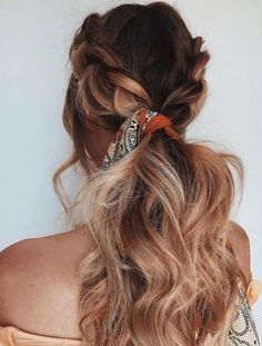 Long Hair Braids: Braided Hairstyles for Long Hair: Loose Double Braid Ponytail - October 12 2019 at No Heat Hairstyles, Pretty Hairstyles, Hairstyle Ideas, Amazing Hairstyles, Stylish Hairstyles, Hairstyles 2016, Ponytail Hairstyles, Bandana Hairstyles For Long Hair, 1950s Hairstyles