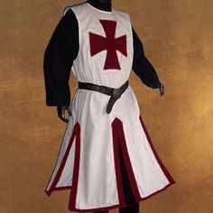 Medieval New Vest Classic Clothing Only Tunic White Super Role Play Medieval Tunic, Medieval Costume, Medieval Knight, Medieval Clothing, Knights Templar Costume, Knight Costume, Costume Chevalier, Costume Carnaval, Crusader Knight