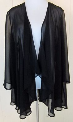 Black Sheer Open Front Cardigan Top Lounge Sleep Wear Made In Italy Quoniam M #Quoniam #Wrap