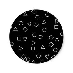 Elegant minimalist geometric pattern black white classic round sticker - black and white gifts unique special b&w style Black And White Stickers, Minimal Style, Black White Fashion, White Style, Round Stickers, Sticker Design, Custom Stickers, Photo Wall, Minimalist