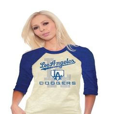 Majestic Threads L.A. Dodgers Ladies Three-Quarter Sleeve Burnout Raglan - Natural/Royal Blue