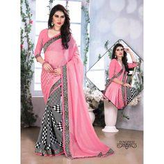 Buy Sareeline Pink Faux Chiffon Saree by Mor Mukut Fashion, on Paytm, Price: Rs.2001